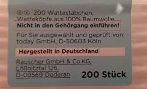 Warnung auf Wattestäbchen-Verpackungen